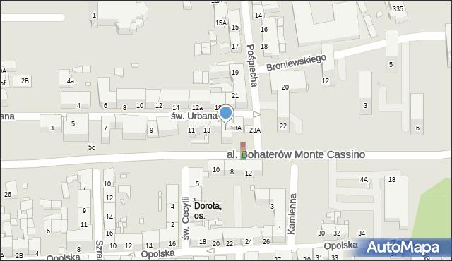 Zabrze, św. Urbana, 13B, mapa Zabrza