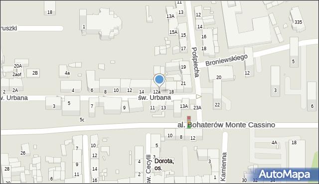 Zabrze, św. Urbana, 16, mapa Zabrza