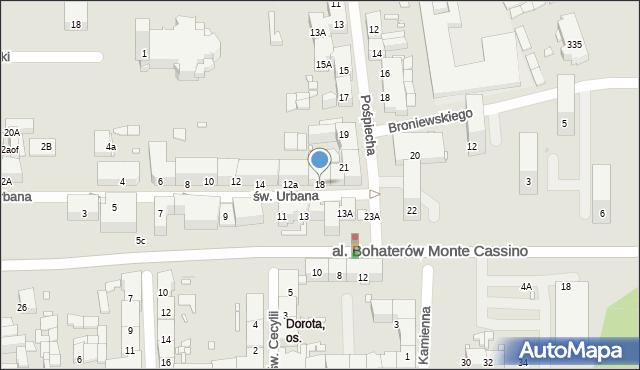 Zabrze, św. Urbana, 18, mapa Zabrza