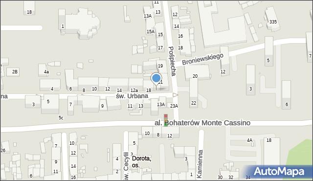 Zabrze, św. Urbana, 18B, mapa Zabrza