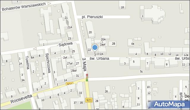 Zabrze, św. Urbana, 2, mapa Zabrza