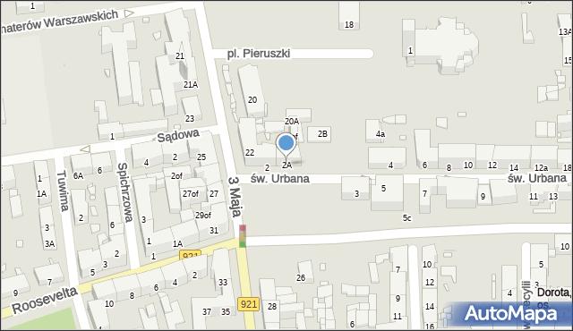 Zabrze, św. Urbana, 2A, mapa Zabrza