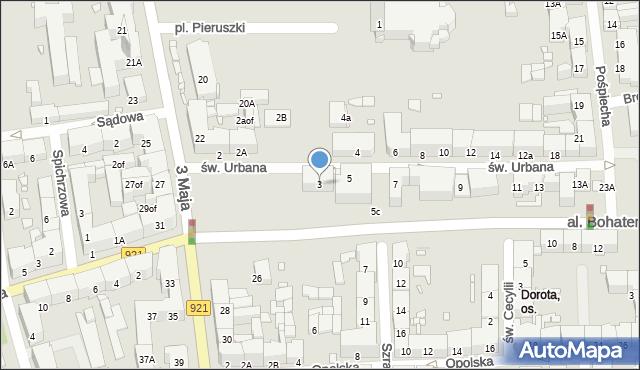 Zabrze, św. Urbana, 3, mapa Zabrza