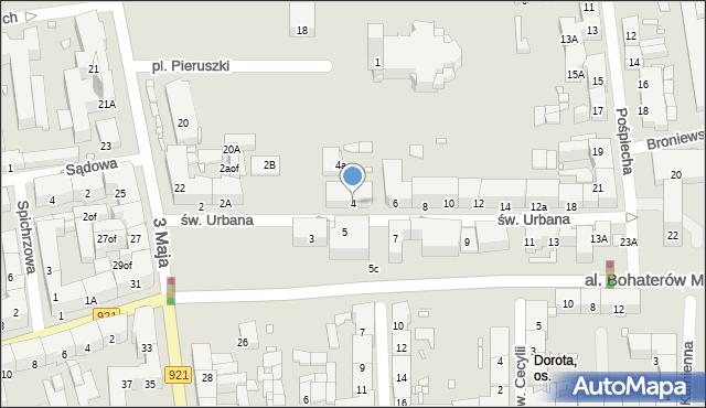 Zabrze, św. Urbana, 4, mapa Zabrza