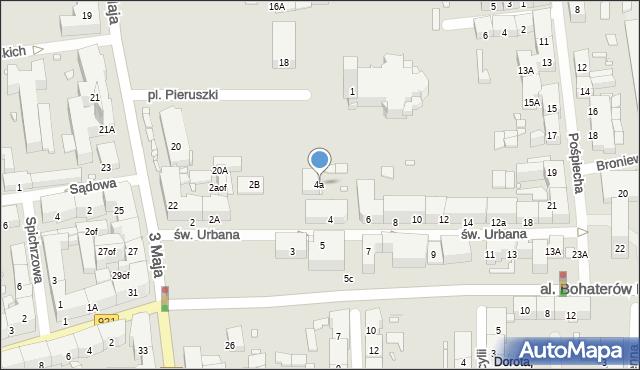 Zabrze, św. Urbana, 4a, mapa Zabrza