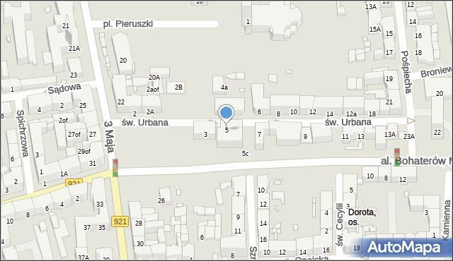 Zabrze, św. Urbana, 5, mapa Zabrza