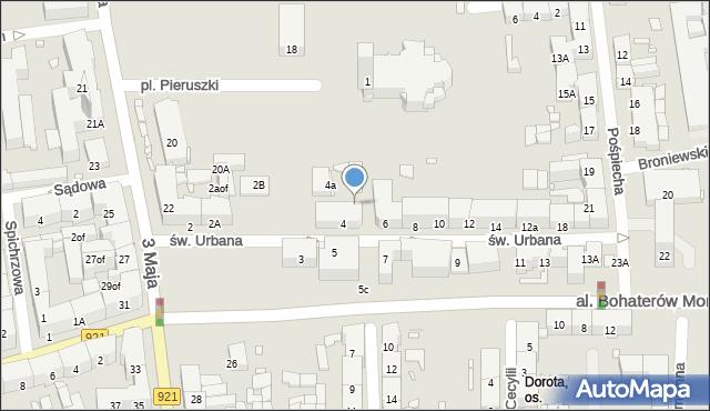 Zabrze, św. Urbana, 5a, mapa Zabrza