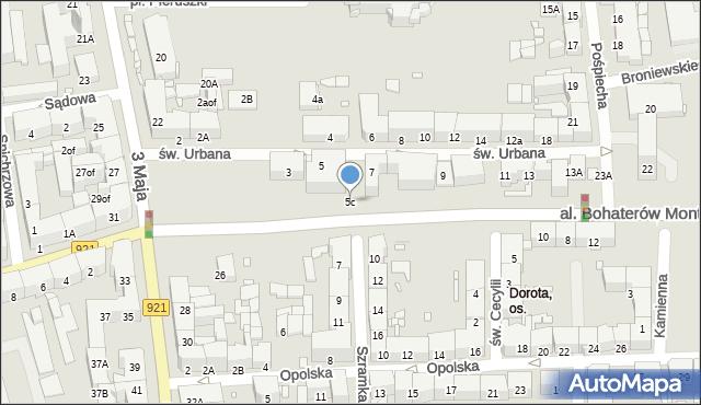 Zabrze, św. Urbana, 5c, mapa Zabrza