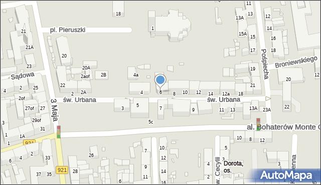Zabrze, św. Urbana, 6, mapa Zabrza