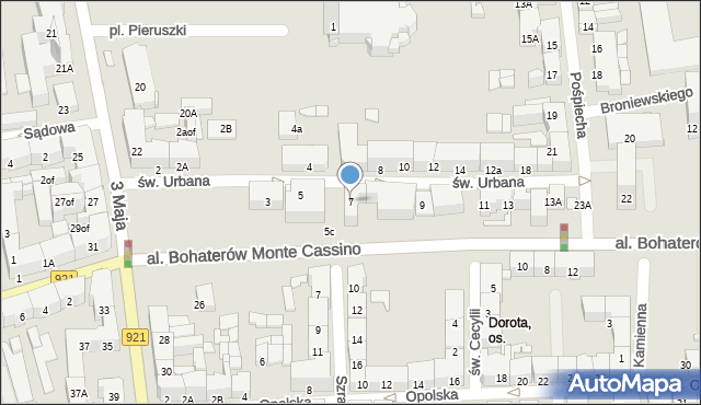Zabrze, św. Urbana, 7, mapa Zabrza