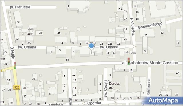 Zabrze, św. Urbana, 9, mapa Zabrza