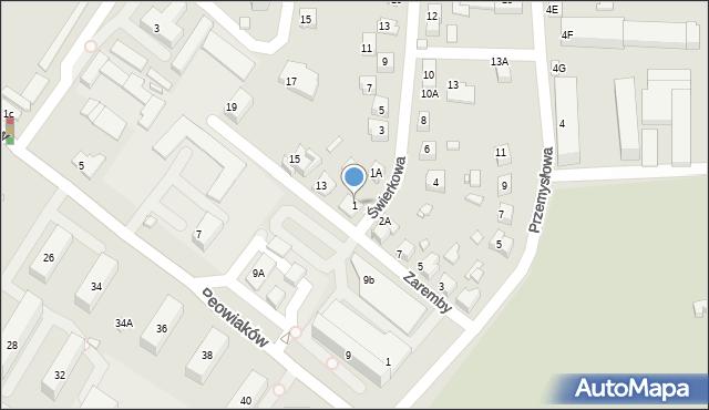 Zamość, Świerkowa, 1, mapa Zamościa