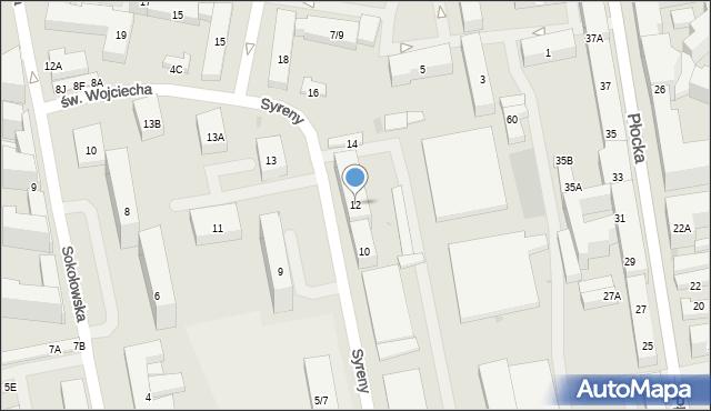 Warszawa, Syreny, 12, mapa Warszawy
