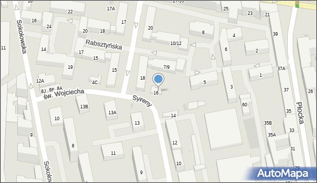 Warszawa, Syreny, 16B, mapa Warszawy