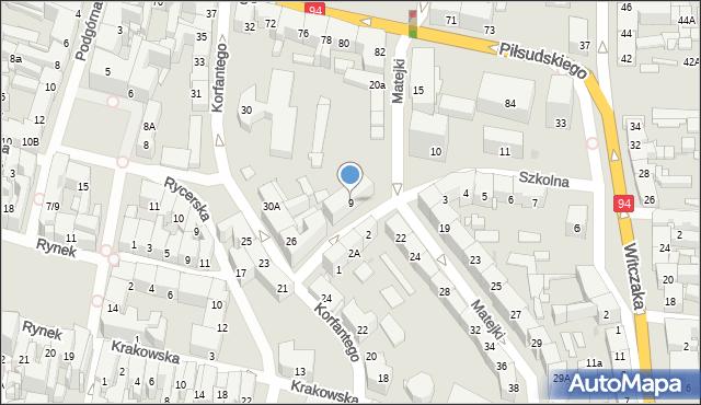 Bytom, Szkolna, 9, mapa Bytomia