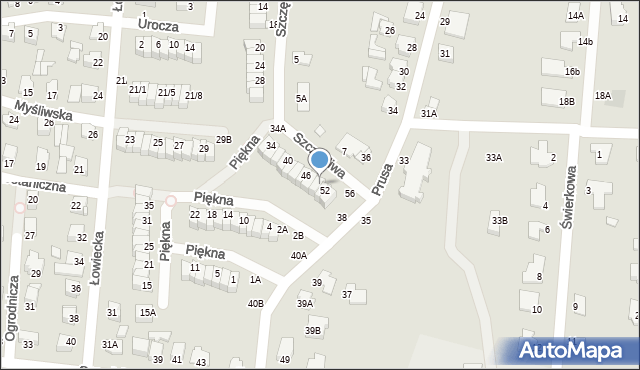 Chełm, Szczęśliwa, 50, mapa Chełma
