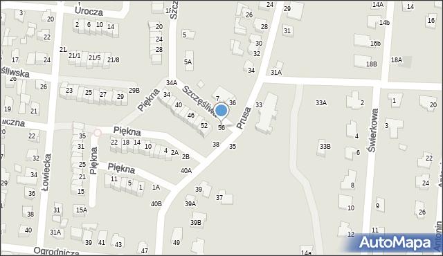 Chełm, Szczęśliwa, 56, mapa Chełma