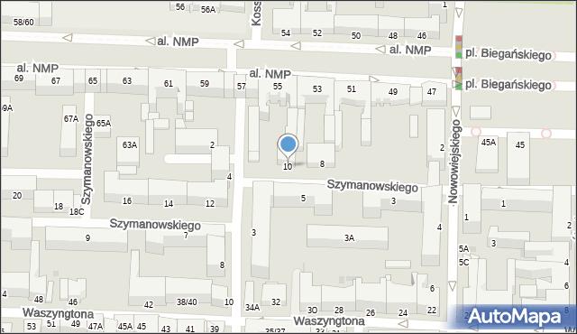 Częstochowa, Szymanowskiego, 10, mapa Częstochowy