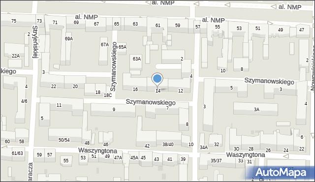 Częstochowa, Szymanowskiego, 14, mapa Częstochowy