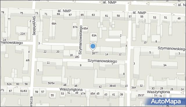 Częstochowa, Szymanowskiego, 16, mapa Częstochowy