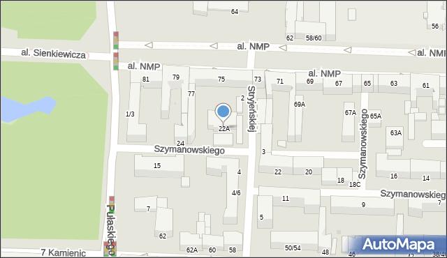 Częstochowa, Szymanowskiego Karola, 22A, mapa Częstochowy