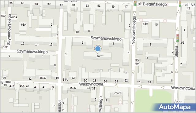Częstochowa, Szymanowskiego Karola, 3A, mapa Częstochowy