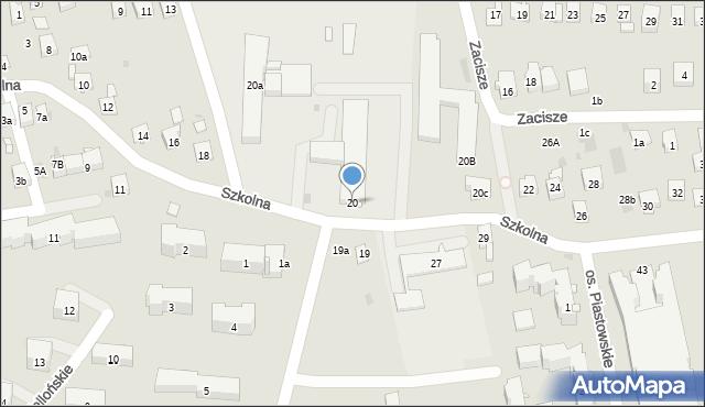Dobczyce, Szkolna, 20, mapa Dobczyce