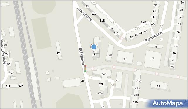 Gdańsk, Sztormowa, 1A, mapa Gdańska