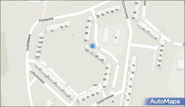 Gdańsk, Sztormowa, 6C, mapa Gdańska