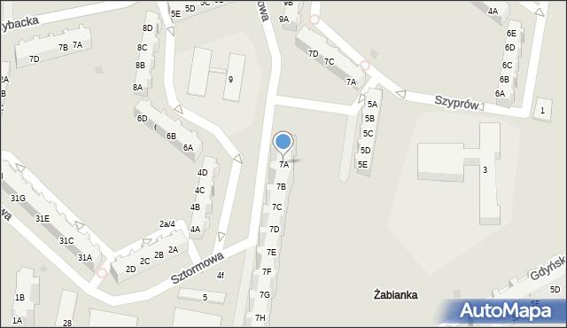 Gdańsk, Sztormowa, 7A, mapa Gdańska
