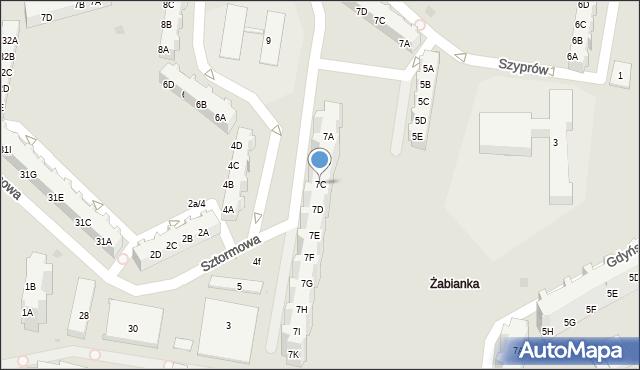 Gdańsk, Sztormowa, 7C, mapa Gdańska