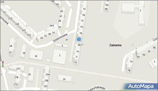 Gdańsk, Sztormowa, 7G, mapa Gdańska