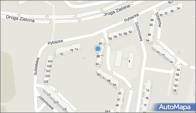 Gdańsk, Sztormowa, 8B, mapa Gdańska