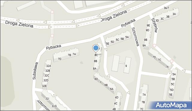 Gdańsk, Sztormowa, 8C, mapa Gdańska