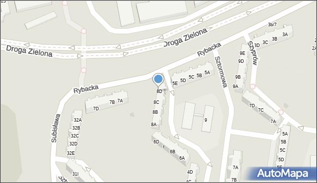 Gdańsk, Sztormowa, 8D, mapa Gdańska