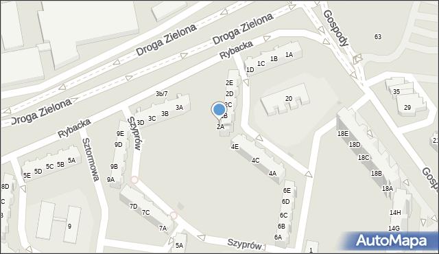 Gdańsk, Szyprów, 2A, mapa Gdańska