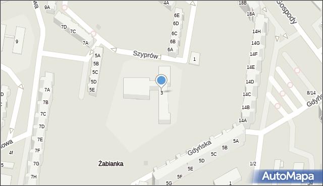 Gdańsk, Szyprów, 3, mapa Gdańska