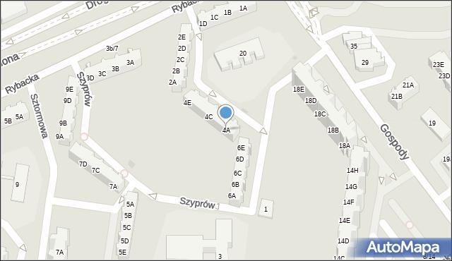 Gdańsk, Szyprów, 4A, mapa Gdańska