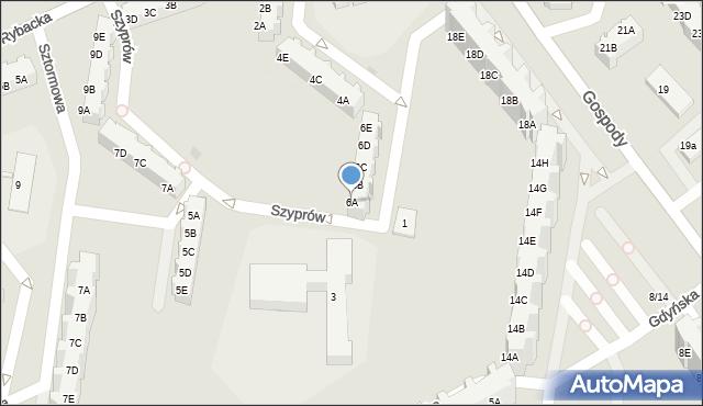 Gdańsk, Szyprów, 6A, mapa Gdańska