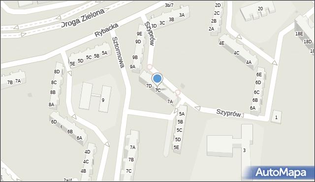 Gdańsk, Szyprów, 7C, mapa Gdańska