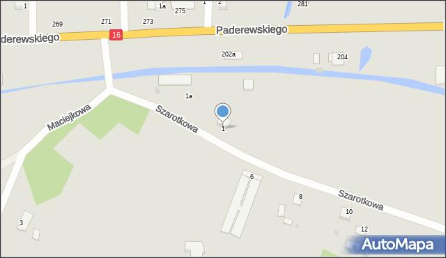Grudziądz, Szarotkowa, 1, mapa Grudziądza