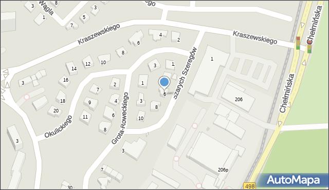 Grudziądz, Szarych Szeregów, 6, mapa Grudziądza