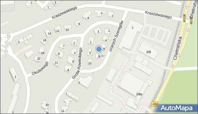 Grudziądz, Szarych Szeregów, 8, mapa Grudziądza