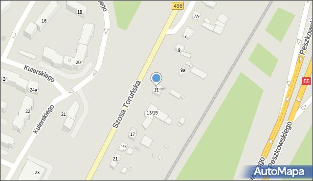 Grudziądz, Szosa Toruńska, 11, mapa Grudziądza