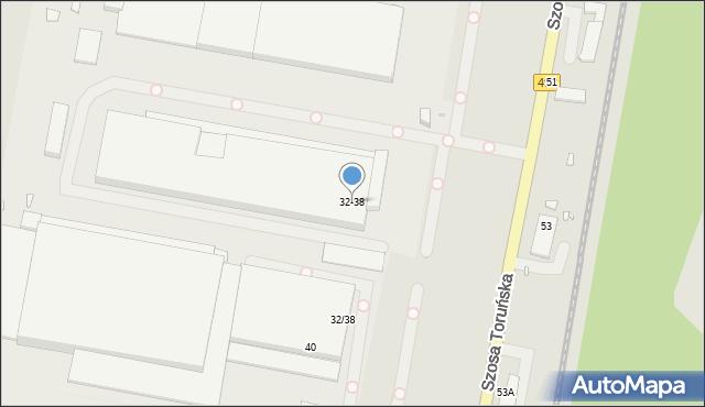 Grudziądz, Szosa Toruńska, 32/38, mapa Grudziądza