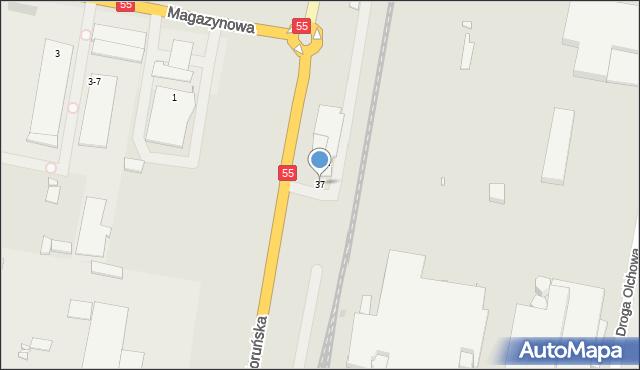 Grudziądz, Szosa Toruńska, 37, mapa Grudziądza