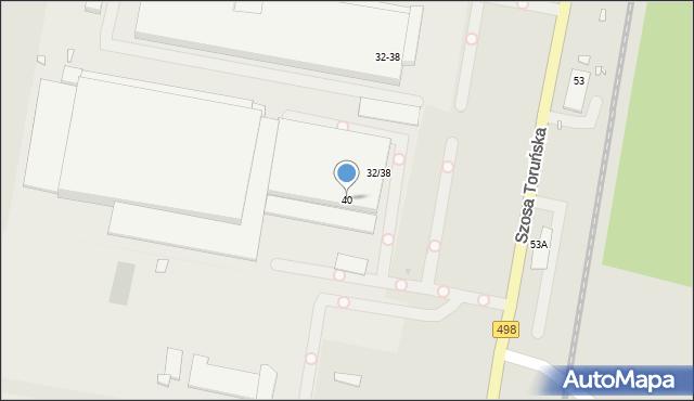 Grudziądz, Szosa Toruńska, 40, mapa Grudziądza