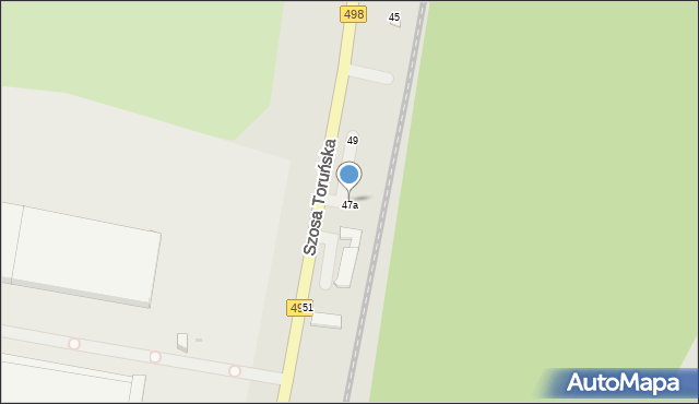 Grudziądz, Szosa Toruńska, 47a, mapa Grudziądza