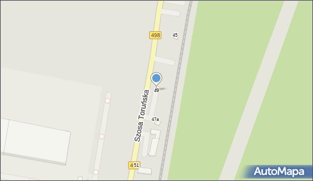Grudziądz, Szosa Toruńska, 49, mapa Grudziądza