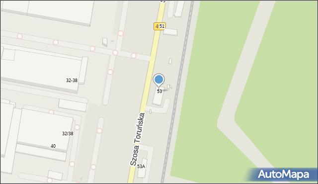 Grudziądz, Szosa Toruńska, 53, mapa Grudziądza